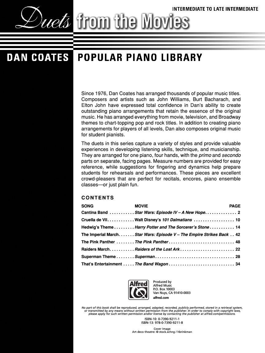 Duets from the Movies (Piano) by Various Compose   J W