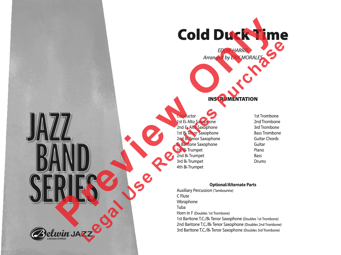 Cold Duck Time By Eddie Harris Arr Erik Morales J W Pepper Sheet