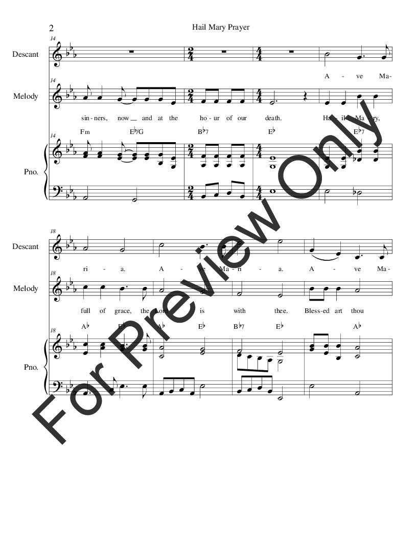 Hail Mary Prayer (Two-Part Mixed ) arr  Ste | J W  Pepper Sheet Music