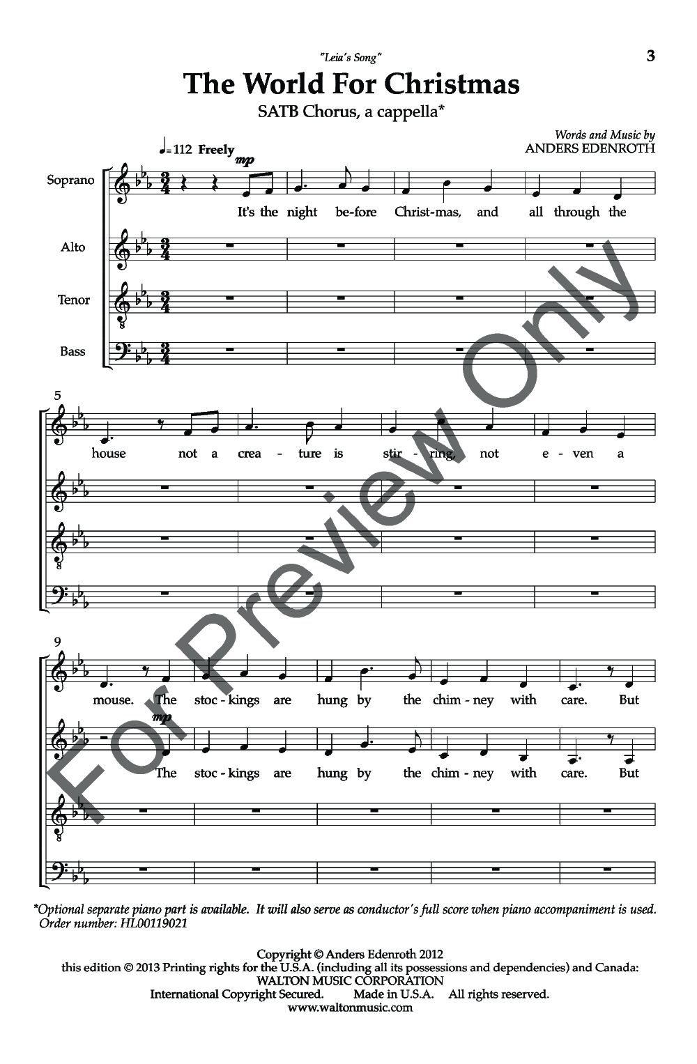 The World for Christmas (SATB ) by Anders Ed | J W  Pepper