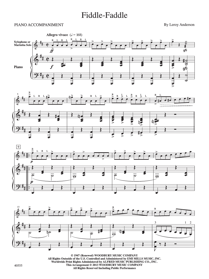 Fiddle Faddle (Keyboard Percussion Solo wit   J W  Pepper Sheet Music