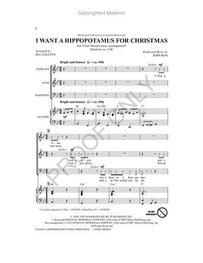 I Want A Hippopotamus For Christmas Sheet Music.I Want A Hippopotamus For Christmas Three Part J W