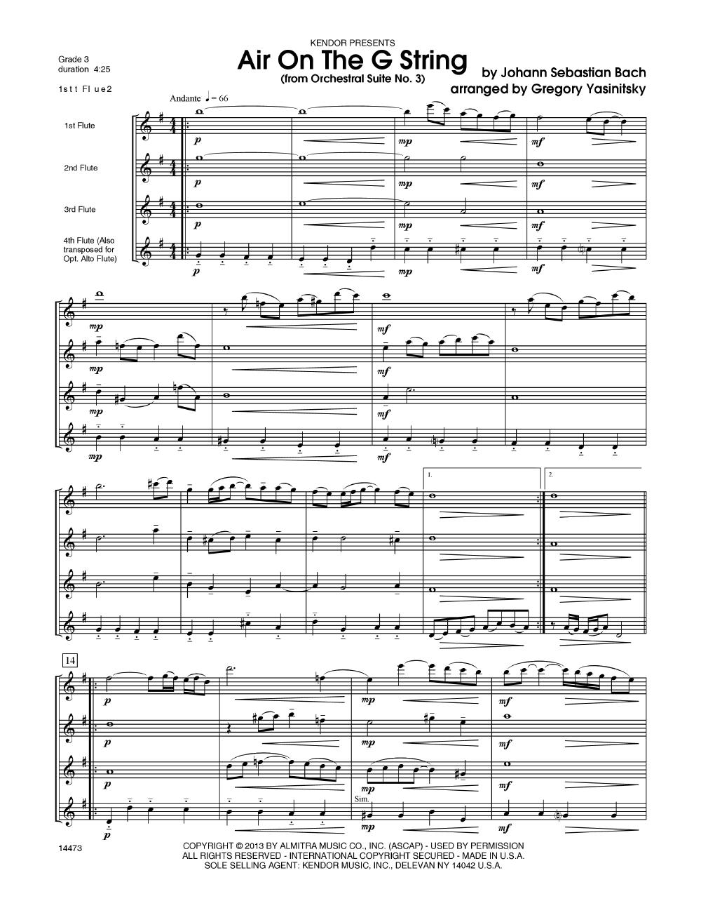 Air on the G String (Flute Quartet for | J W  Pepper Sheet Music