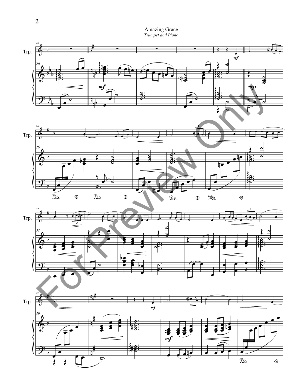 Amazing Grace Trumpet Solo With Piano Jw Pepper Sheet Music