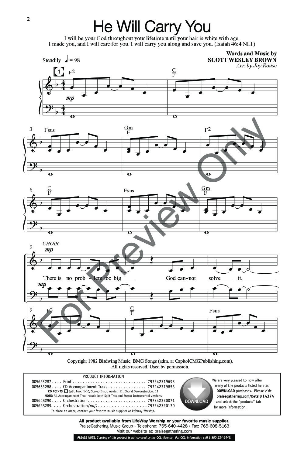 He Will Carry You (SATB ) by Scott Wesley B | J W  Pepper Sheet Music