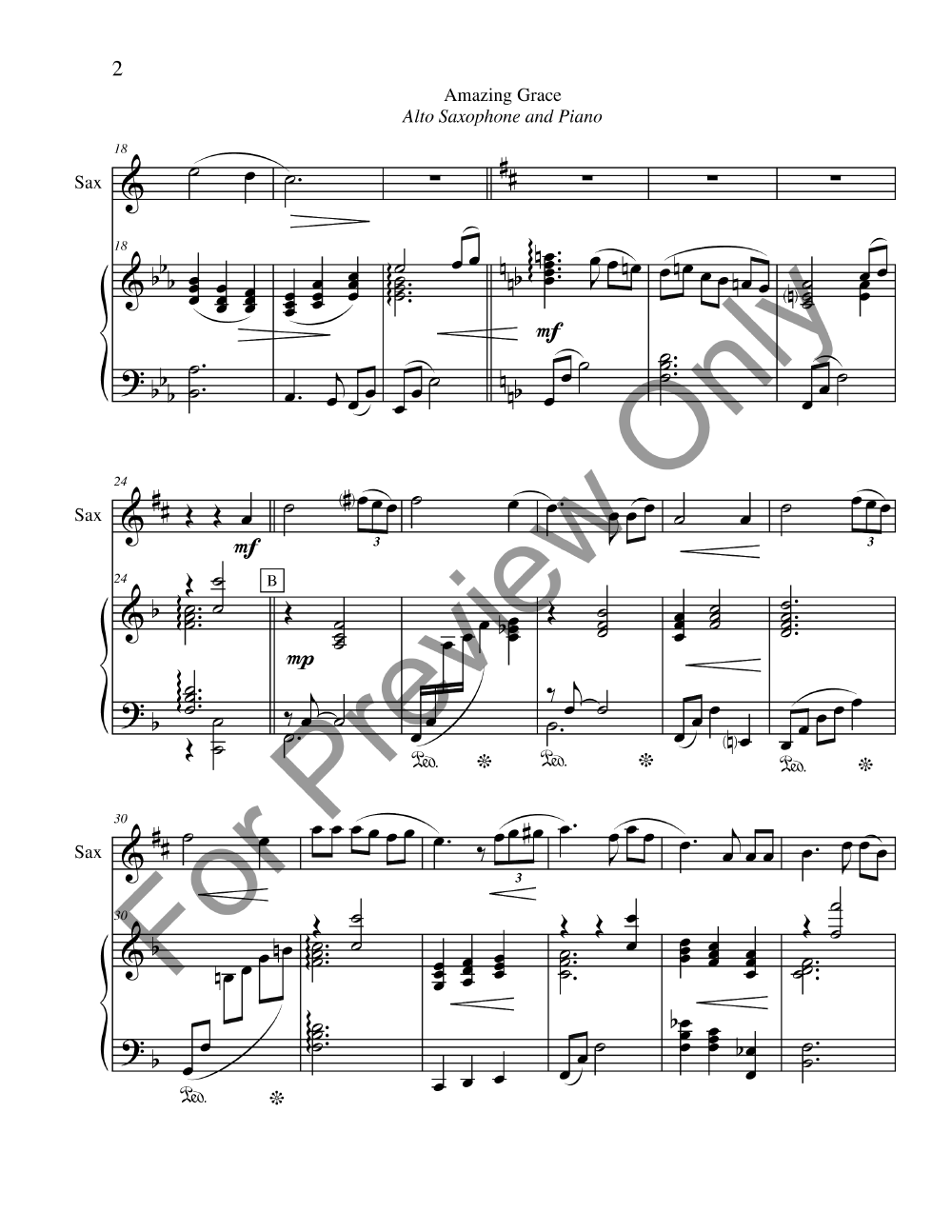graphic relating to Free Printable Piano Sheet Music for Amazing Grace known as Extraordinary Grace (Alto Sax Solo with Pianonbs J.W. Pepper
