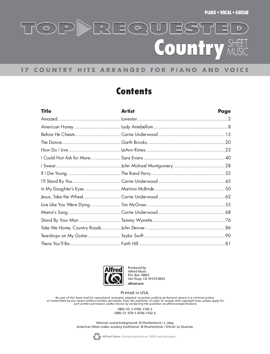 Top-Requested Country Sheet Music Thumbnail