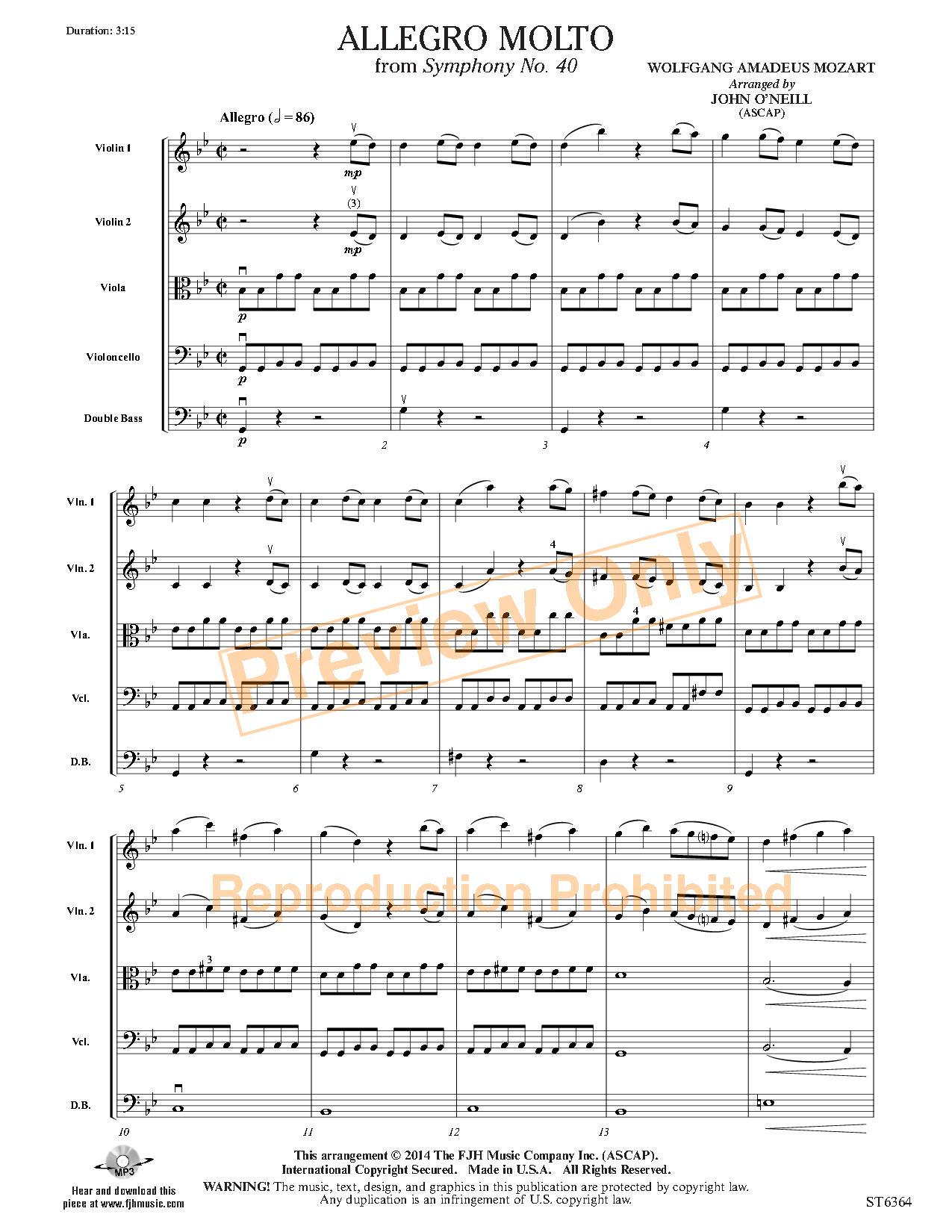 Allegro Molto by W A  Mozart/arr  John O'Neill  J W  Pepper Sheet Music