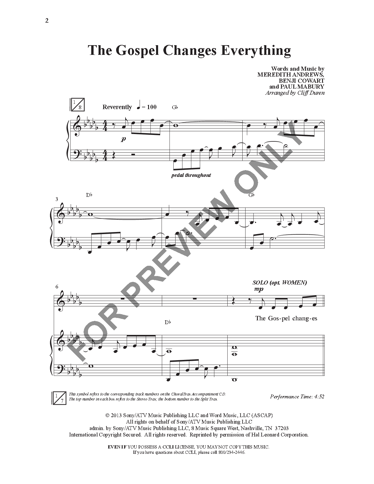 The Gospel Changes Everything (SATB ) arr  C | J W  Pepper
