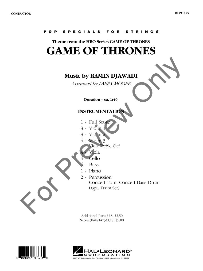 Game Of Thrones Titelmusik Klaviernoten game of thronesramin djawadi/arr. larry moore| j.w.