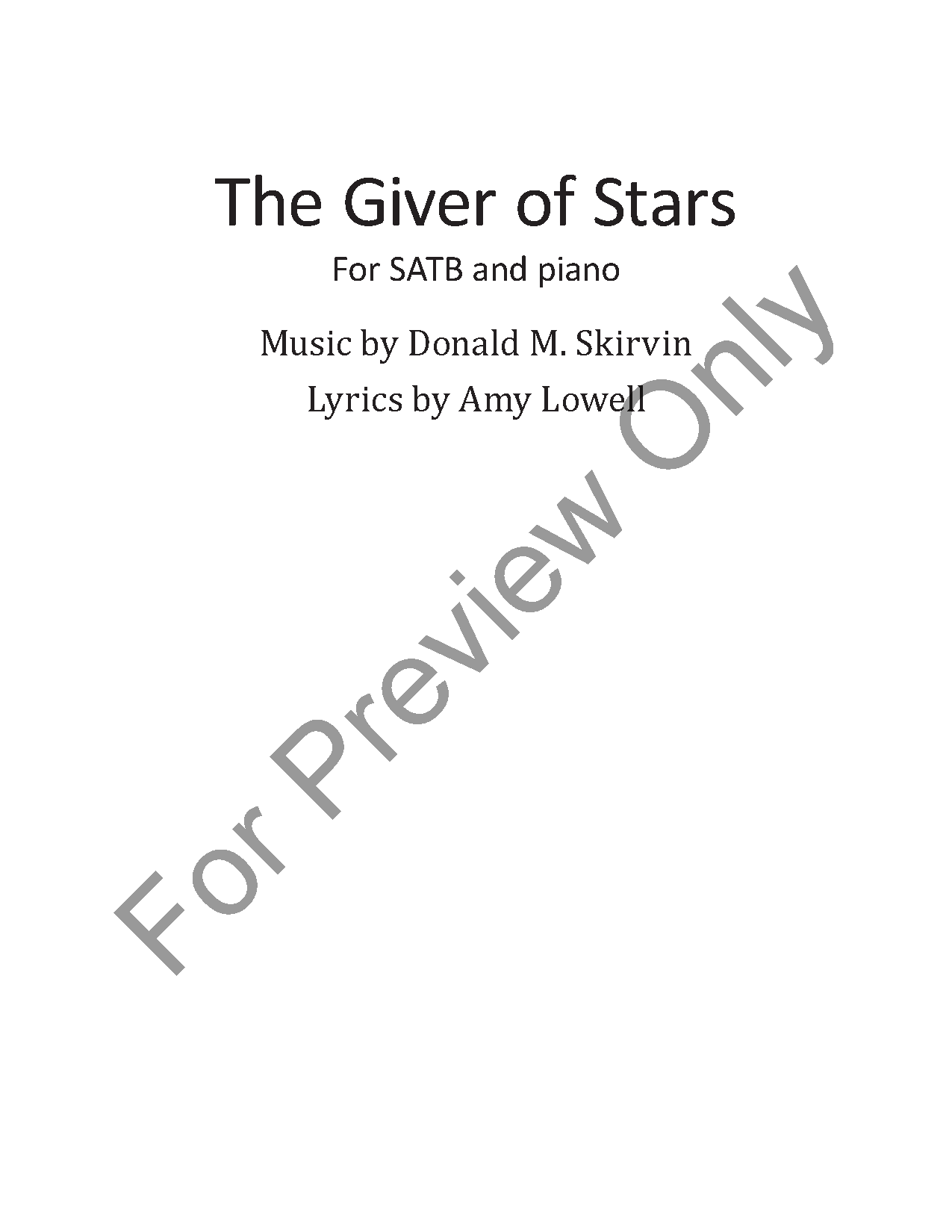 The Giver Of Stars Satb By Donald M Skir Jw Pepper Sheet Music