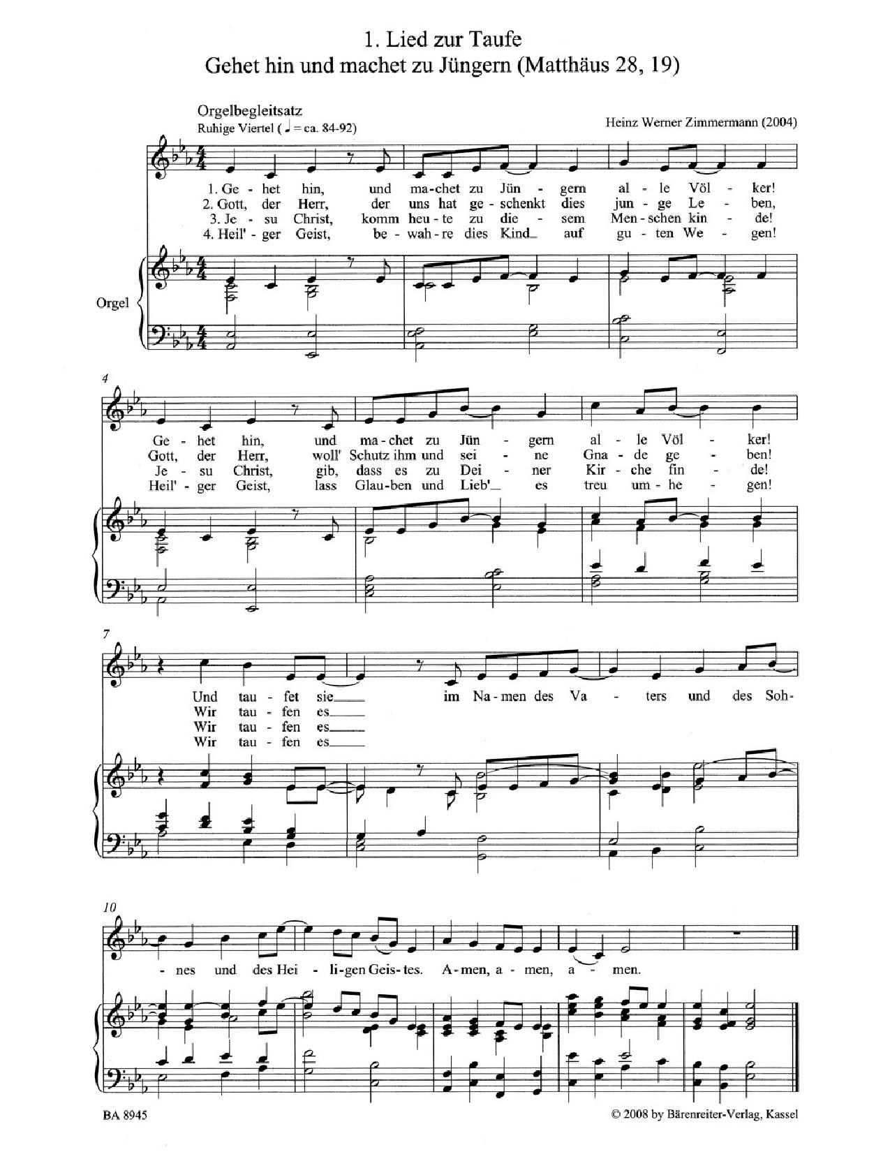 Vier Neue Lieder Zu Kasualien Satb Vocal Sc Jw Pepper