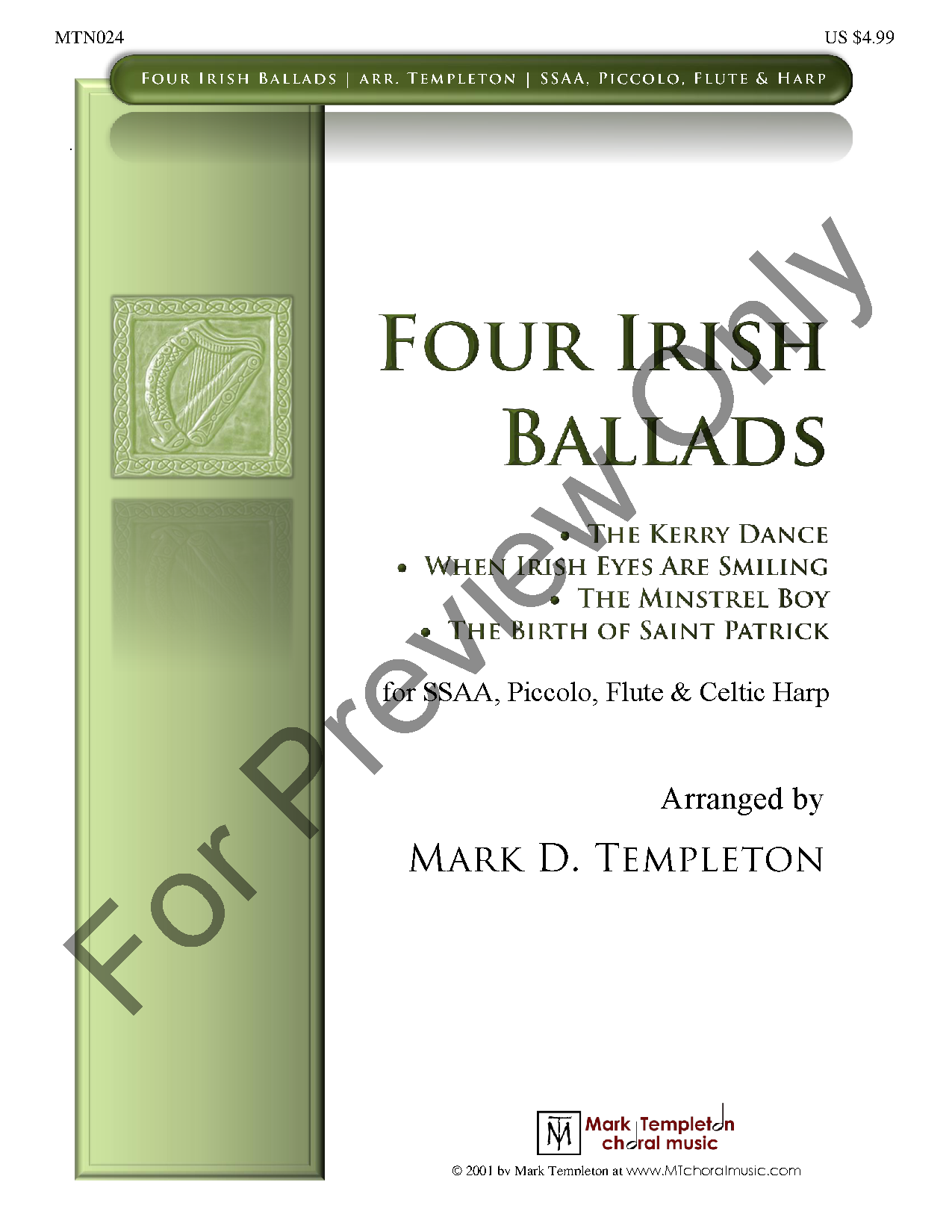 Four Irish Ballads (SSAA ) by Traditional Ir | J W  Pepper Sheet