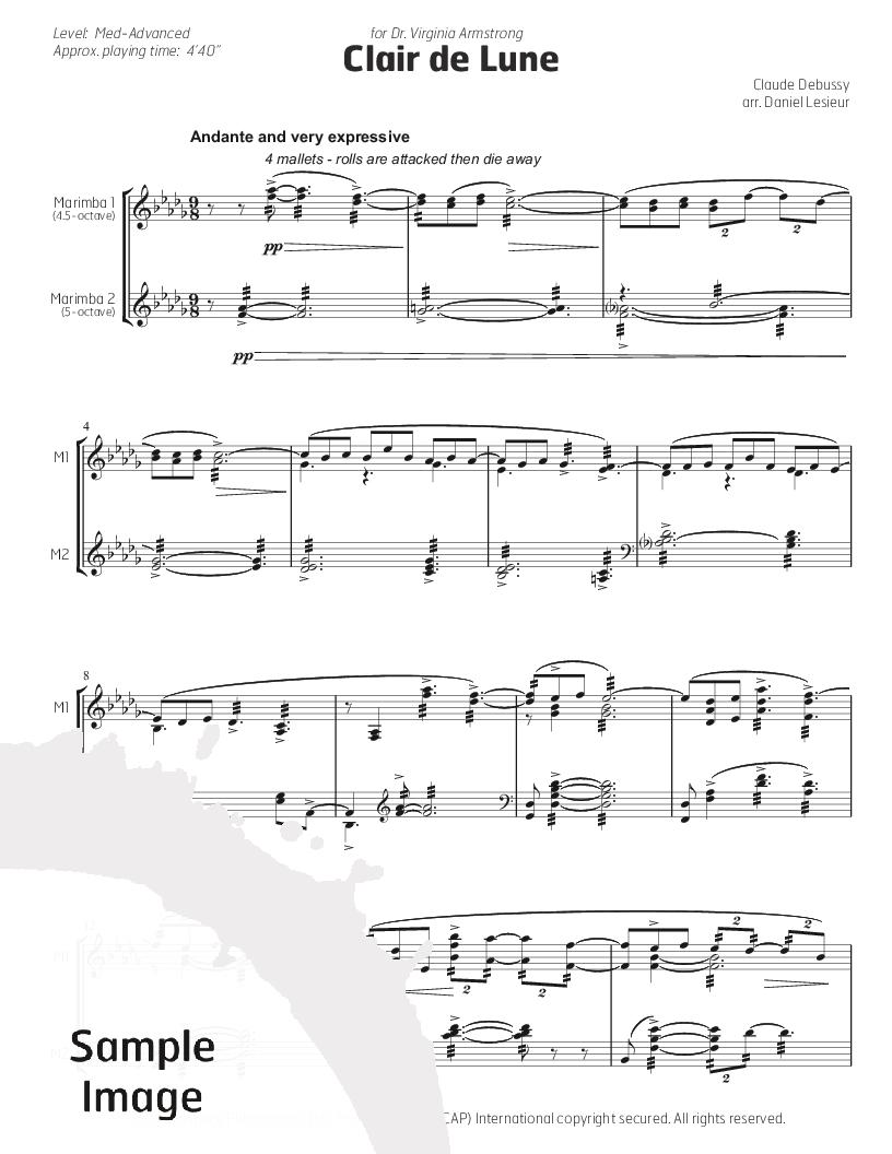 sélection premium 3886c e5c9a Clair de Lune (Marimba Duet ) by Claude | J.W. Pepper Sheet ...