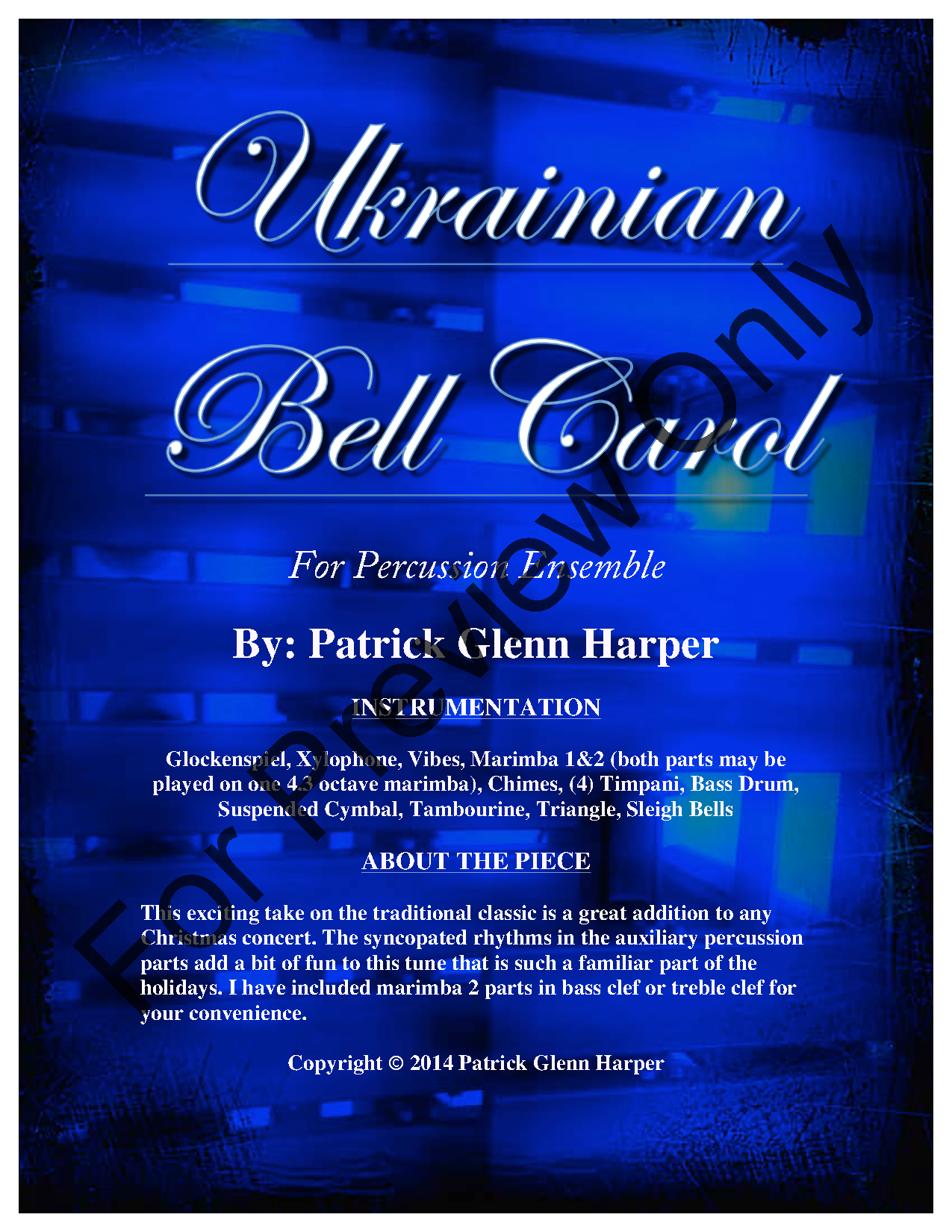 Ukrainian Bell Carol - For Percussion Ensemble (P   J.W. Pepper ... 8d1726a9002