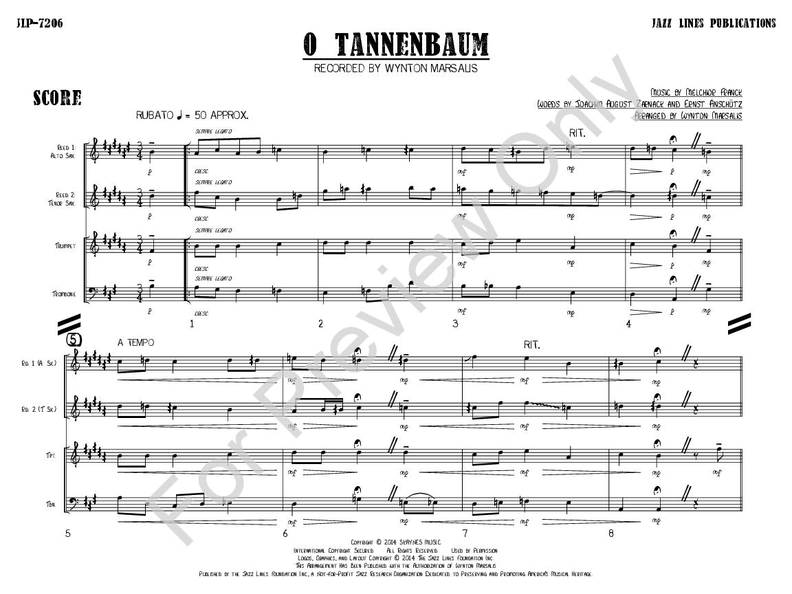 Noten Oh Tannenbaum.O Tannenbaum Arr Wynton Marsalis J W Pepper Sheet Music