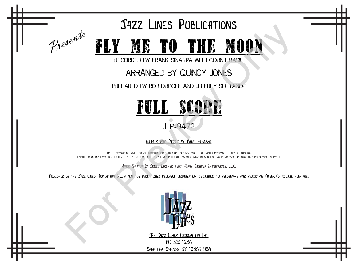 Fly Me to the Moon arr  Quincy Jones| J W  Pepper Sheet Music