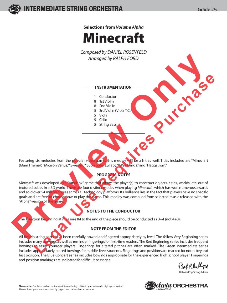 Minecraft by Daniel Rosenfeld/arr  Ralph Ford| J W  Pepper