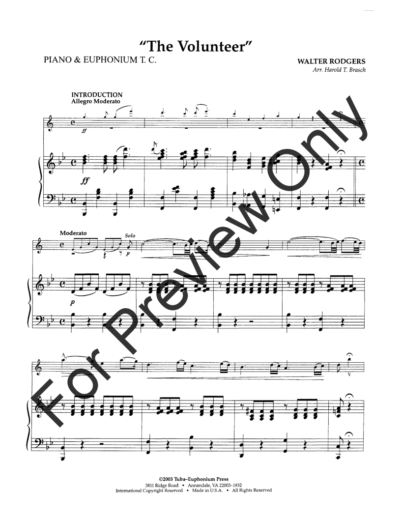 The Volunteer (Euphonium Solo with Piano&nbs | J W  Pepper Sheet