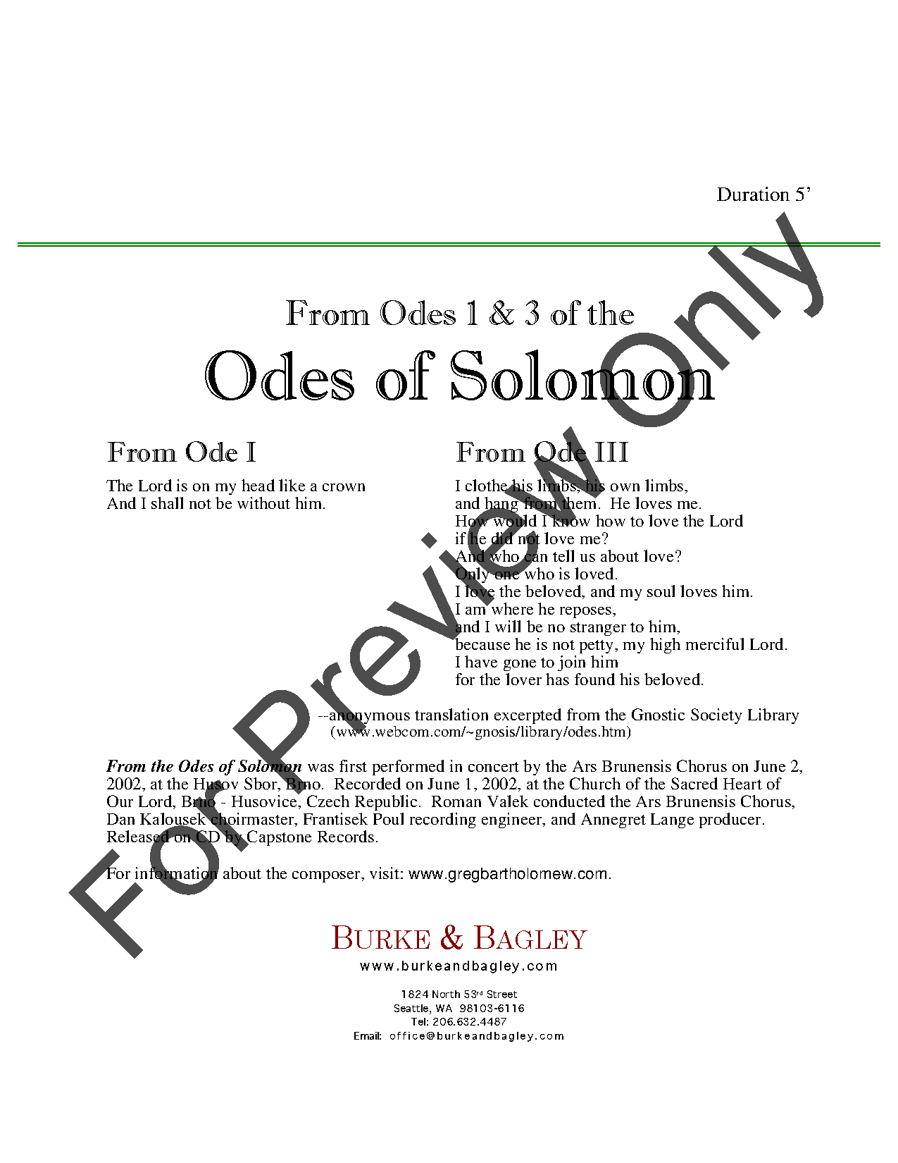 From Odes 1 & 3 of the Odes of Solomon Thumbnail