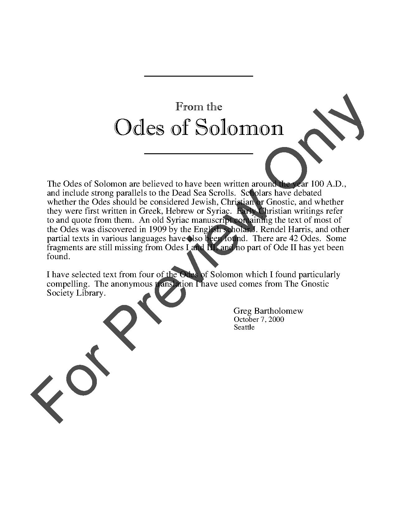 From the Odes of Solomon Thumbnail
