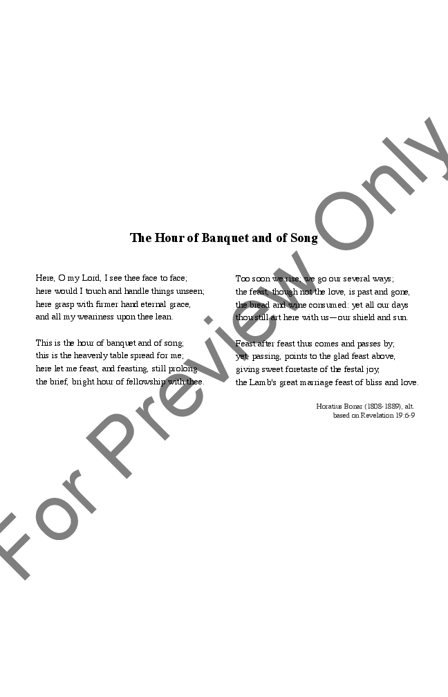 The Hour of Banquet and of Song (SATB ) arr  | J W  Pepper