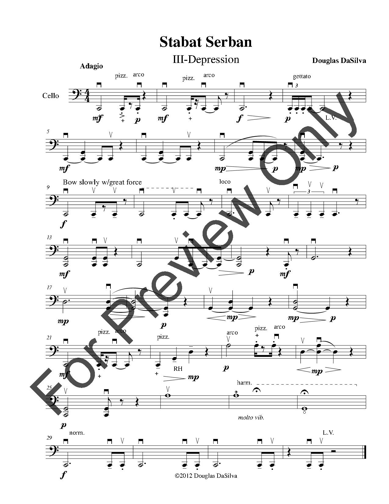 Stabat Serban for Solo Cello Thumbnail
