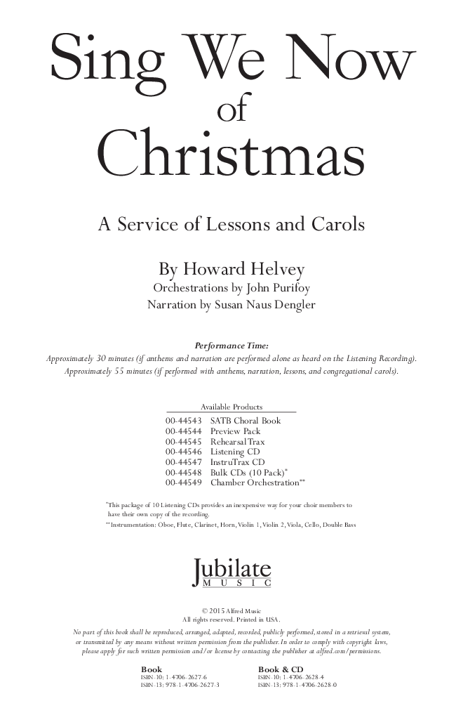 Sing We Now of Christmas (SATB Choral Score& | J W