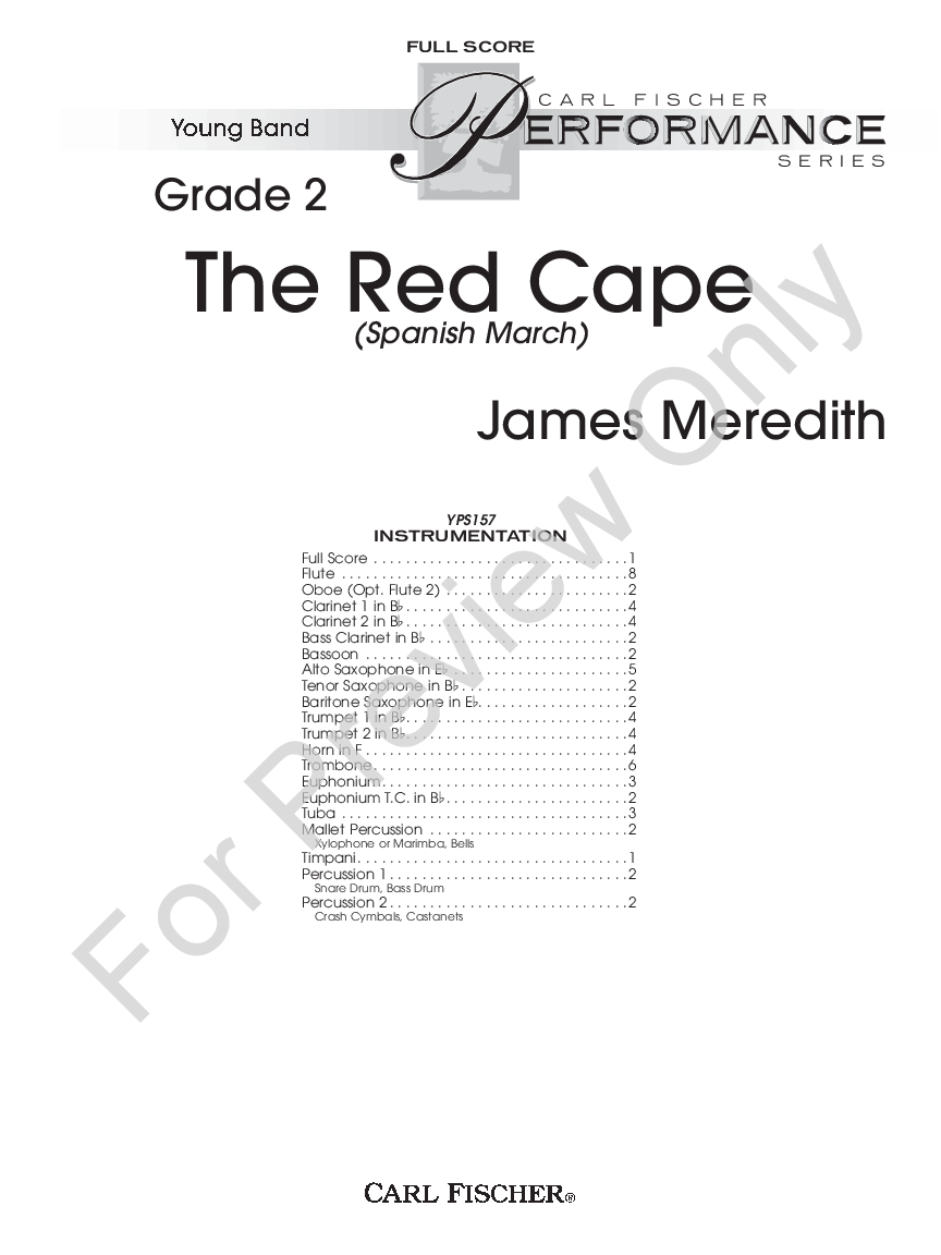 The Red Cape by James Meredith  J W  Pepper Sheet Music