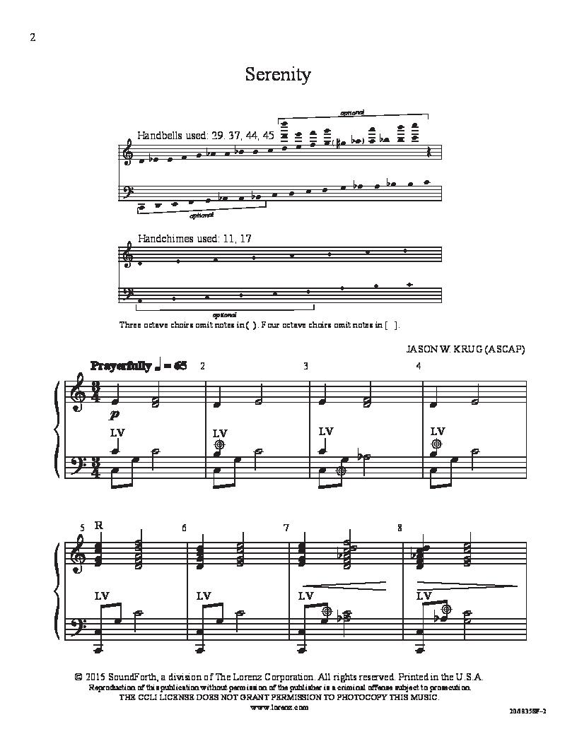 serenity handbell 3 5 sheet music