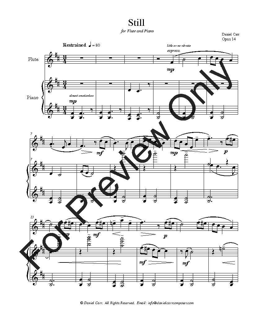 Still for Flute (Violin) and Piano Thumbnail