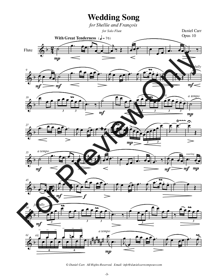 Wedding Song for Solo Flute (Violin) Thumbnail
