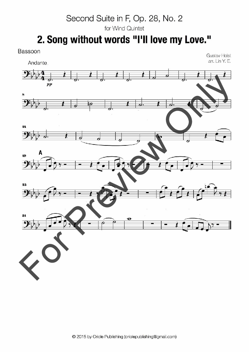 Second Suite In F For Military Band - 2  Song Wit | J W