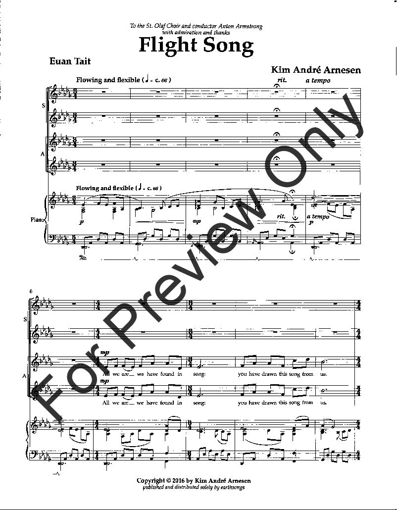 Flight Song (SATB ) by Kim Andre Arnesen| J W  Pepper