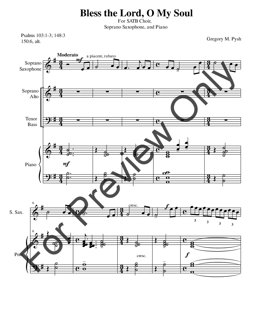 Bless the Lord, O My Soul (SATB ) by Gregory | J W  Pepper Sheet Music