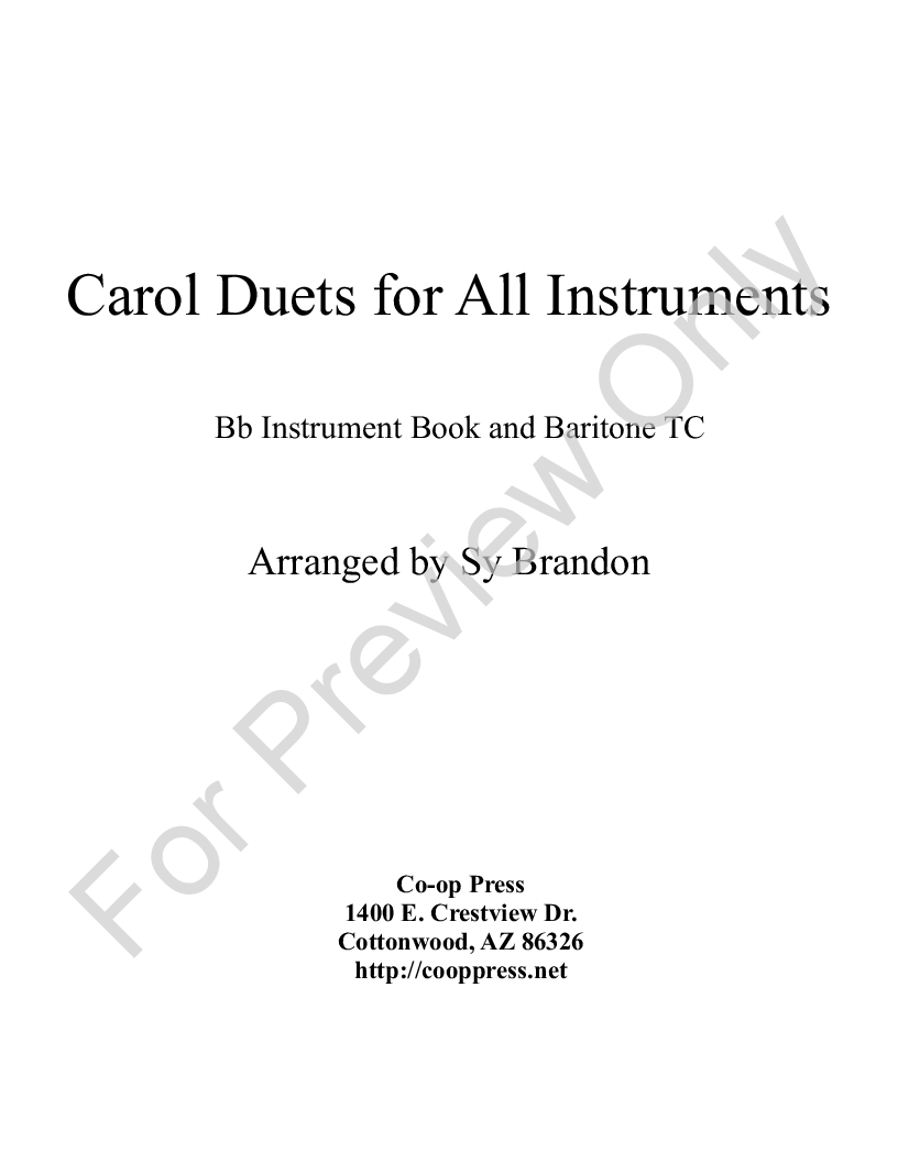 carol duets for all instruments Bb book Thumbnail