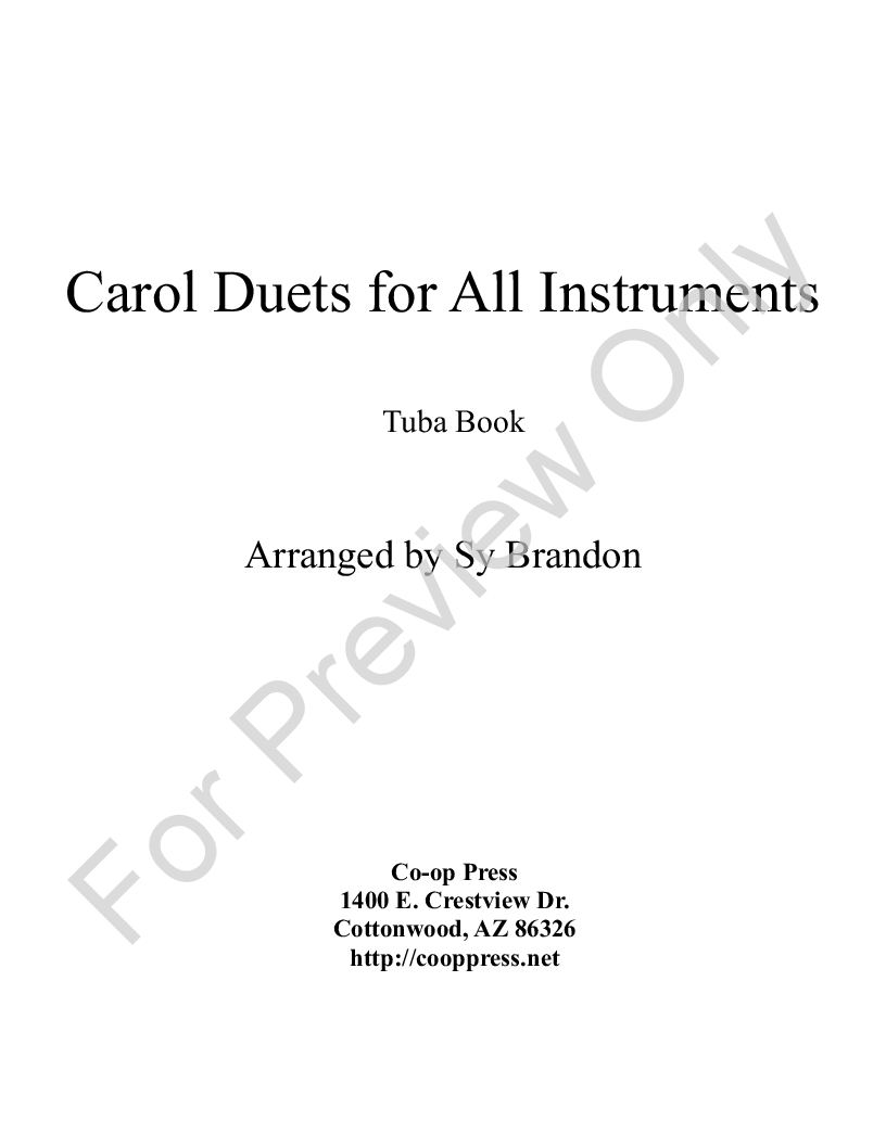 carol duets for all instruments Tuba book Thumbnail