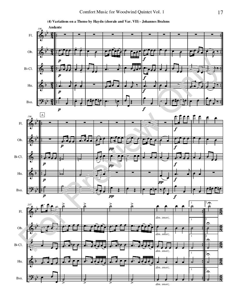Comfort Music for Woodwind Quintet Thumbnail