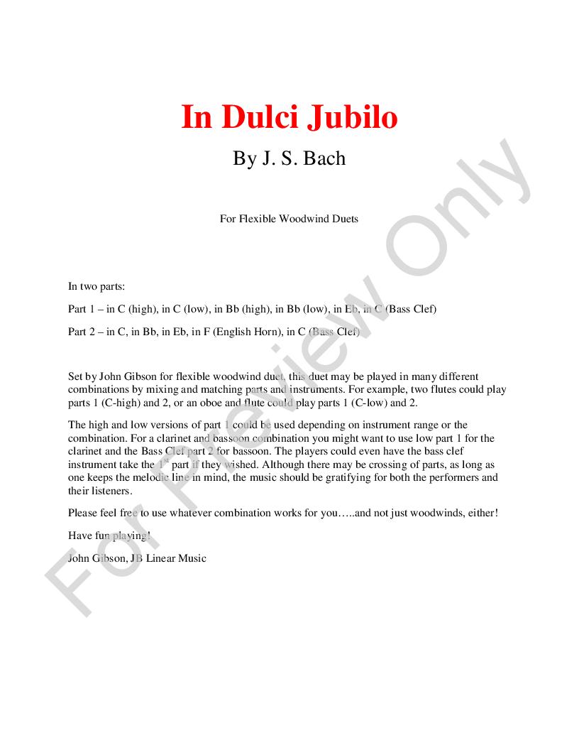 In Dulci Jubilo for woodwind duets Thumbnail