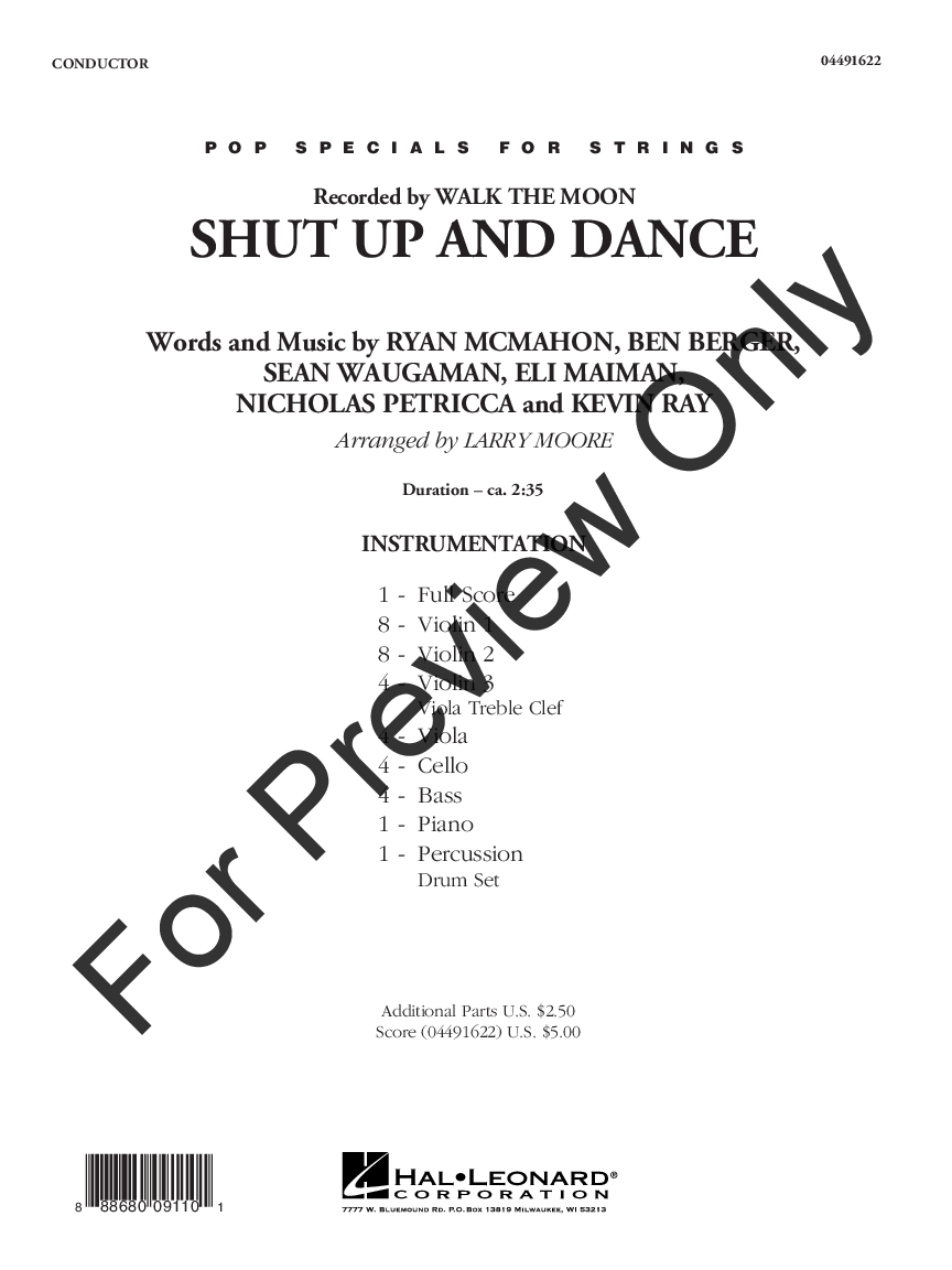 Shut Up and Dance arr  Larry Moore| J W  Pepper Sheet Music