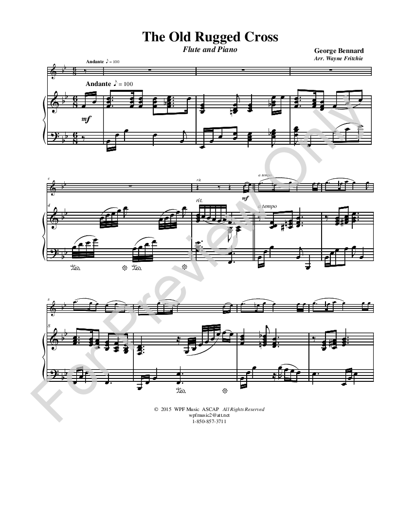 image about Old Rugged Cross Printable Sheet Music named The Aged Rugged Cross (Flute Solo with Piano J.W. Pepper