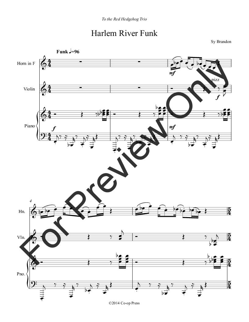 Harlem River Funk for Horn, Violin, and Piano Thumbnail