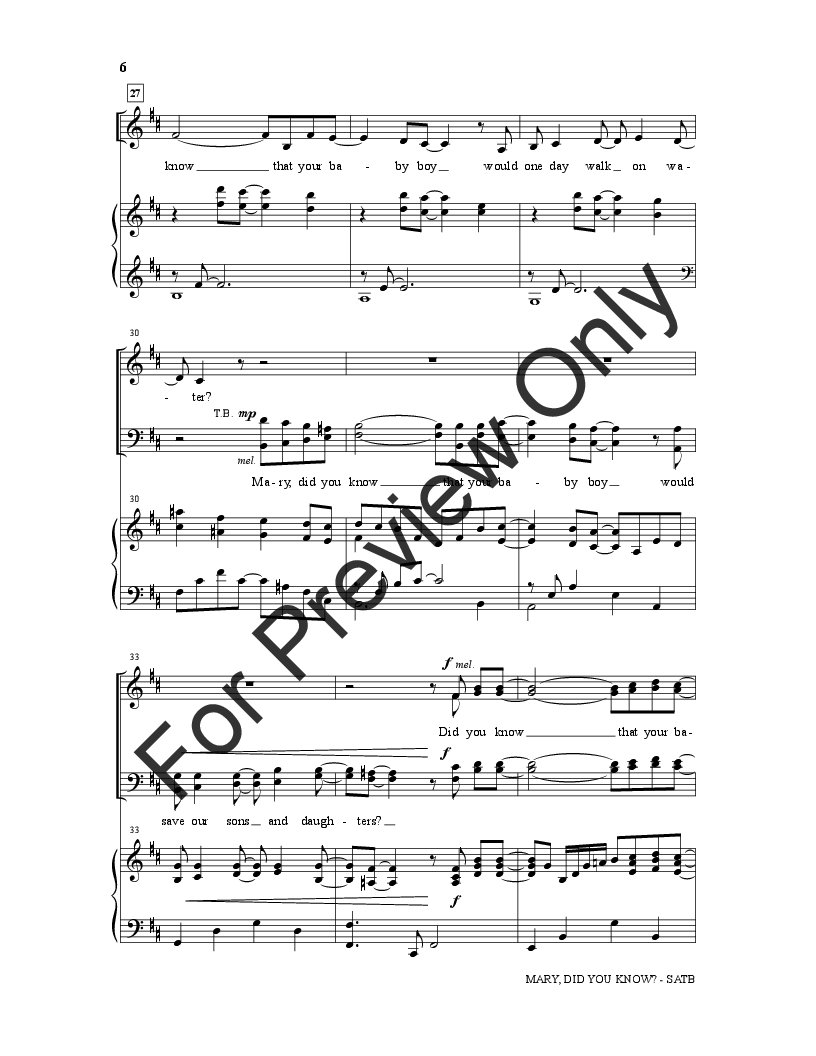 Mary Did You Know? (SATB ) by Buddy Green & | J.W. Pepper Sheet Music