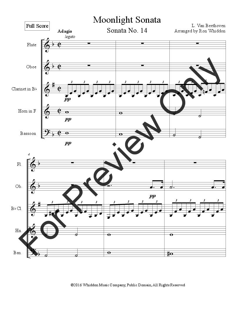 Moonlight Sonata (Woodwind Quintet ) by | J W  Pepper Sheet