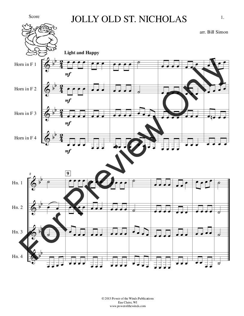16 Christmas Carols for Horn Quartet Thumbnail