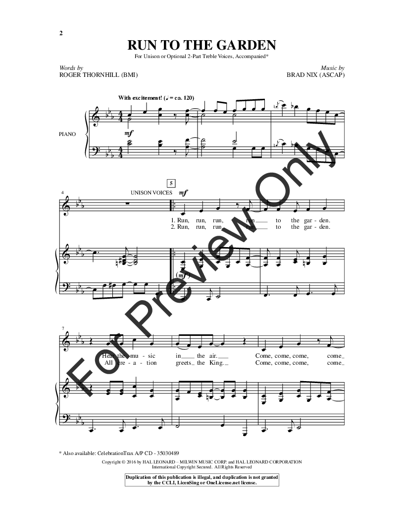 Run to the Garden (Unison/Two-Part ) by Brad   J W  Pepper