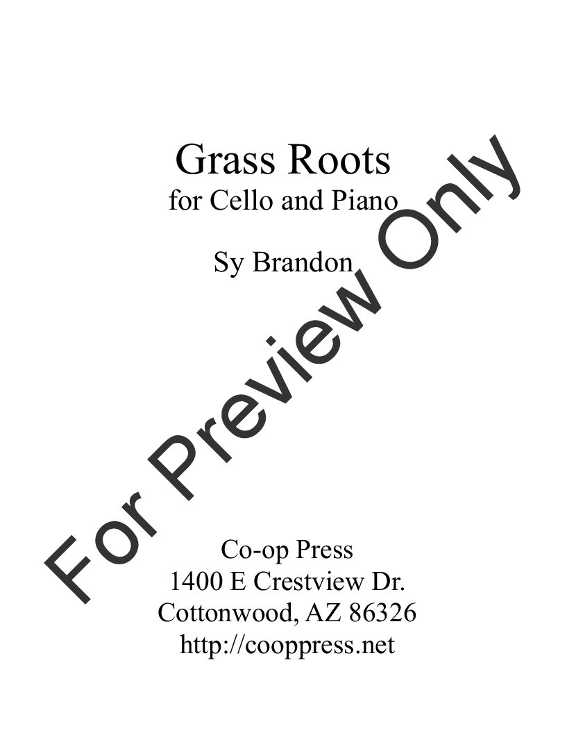 Grass Roots for Cello and Piano Thumbnail