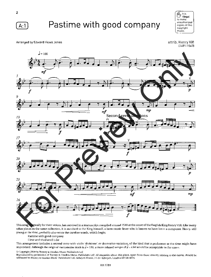 Violin Exam Pieces, 2016-2019, Grade #3 (Violin&n | J W  Pepper