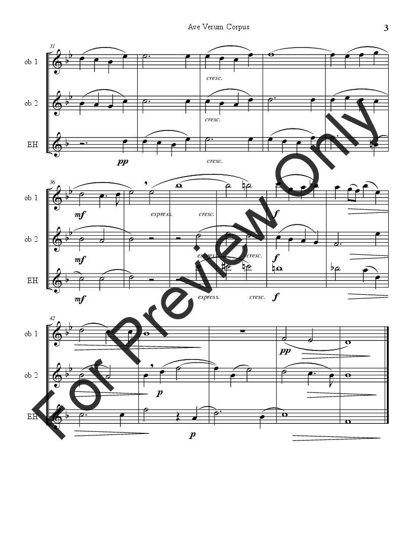 Ave Verum Corpus Oboe Trio Thumbnail