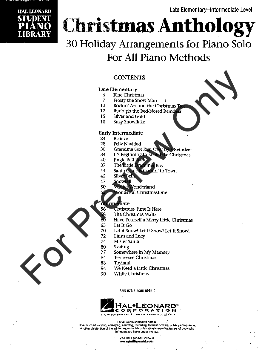 Christmas Anthology (Piano) by Various Composers | J W